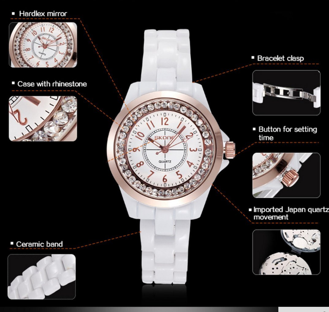WUTONYU(TM) Women's White Ceramic Band Wrist Watch Luminous Rhinestones Quartz Watches(Silver) by WUTONYU (Image #5)