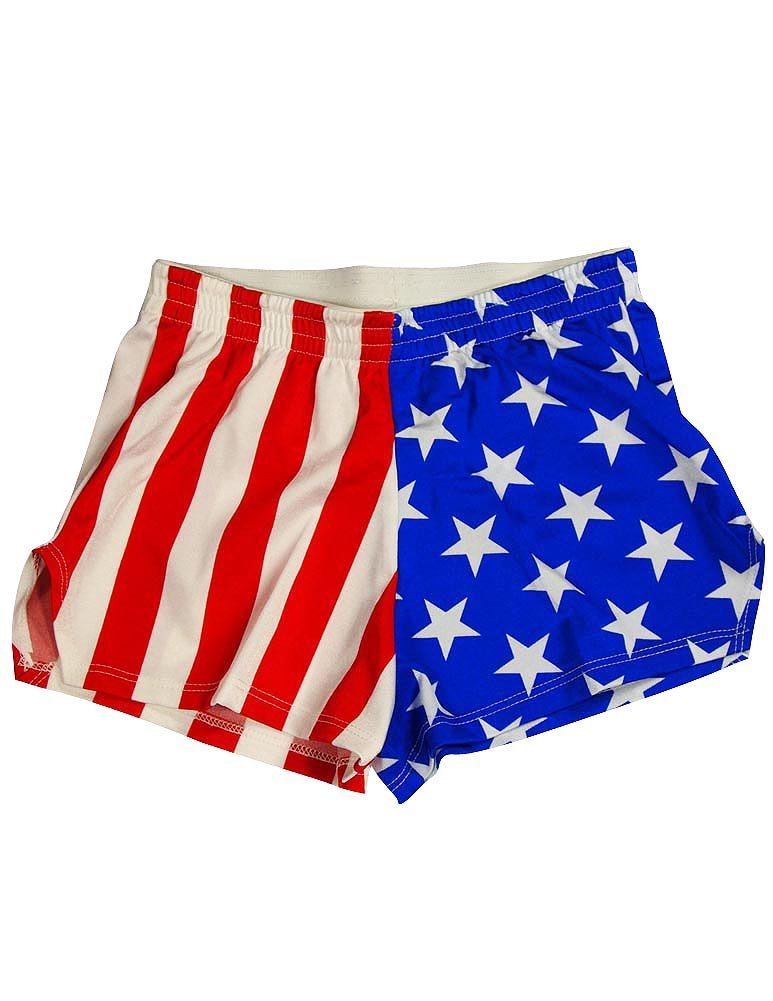 Zara Terez - Big Girls' Stars and Stripes Gym Shorts, Red, White, Blue 34042-14
