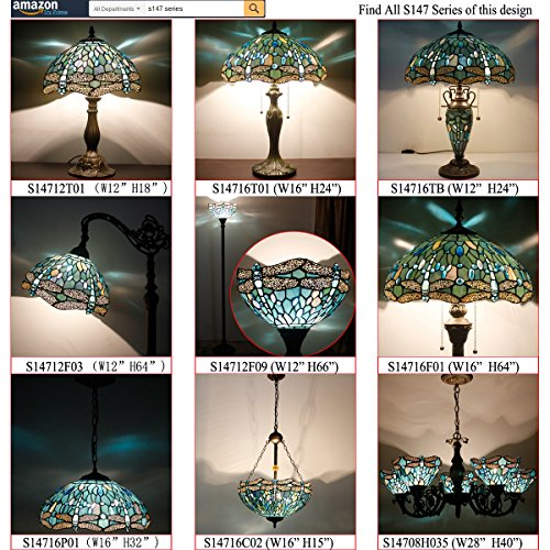 Tiffany Style Torchiere Light Floor Standing Lamp Wide 12 Tall 66 Inch Sea Blue Stained Glass Crystal Bead Dragonfly Lampshade for Living Room Bedroom Antique Table Set S147 WERFACTORY by WERFACTORY (Image #8)