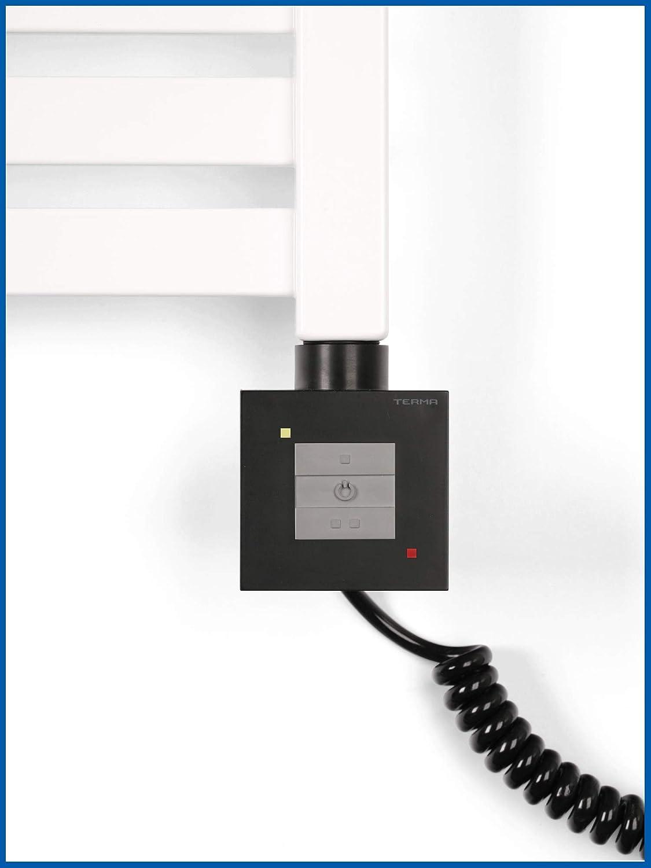 Heizelement mit manueller Steuerung f/ür Badheizk/örper KTX 1 Schwarz Spiralkabel mit Stecker Heizstab 300 Watt Heizpatrone