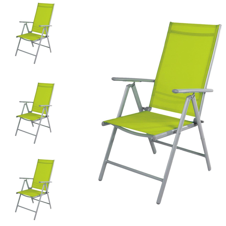 Mojawo 4 Stück Gartenstuhl - Hochlehner 7-Fach verstellbar - zusammenklappbar - Klappstuhl - witterungsbeständiges Aluminium - wetterfeste Gartenmöbel - Silber/Lime