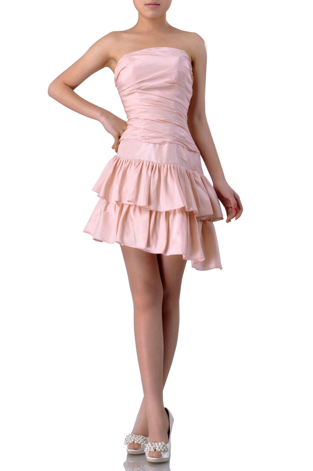Taffeta Natrual Bateau Short Strapless Homecoming Modest Bridesmaid Dress Short, Color White,14 by Adorona (Image #1)