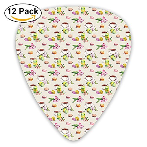 ery Macaroons With Tea Cups And Flowers Soft Artsy Guitar Picks 12/Pack Set ()