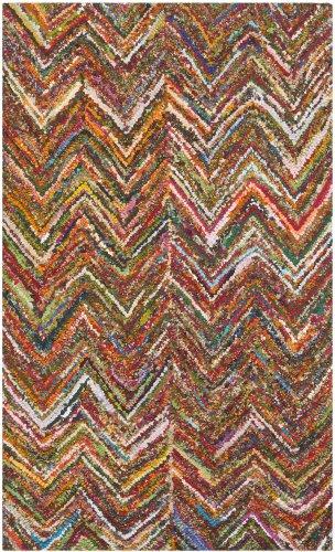 Safavieh Nantucket Collection NAN141B Handmade Abstract Chevron Multicolored Cotton Area Rug (4