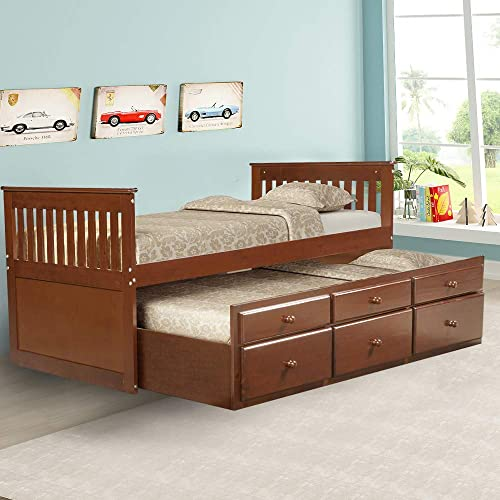 Romatpretty Solid Wood Captain Bed