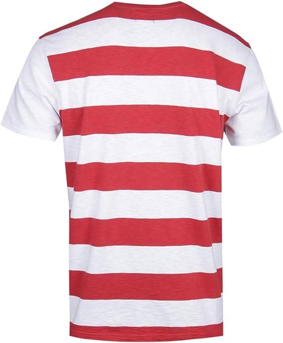 Edwin Ringer Manga Corta Camiseta roja y Blanca a Rayas: Amazon.es: Ropa y accesorios