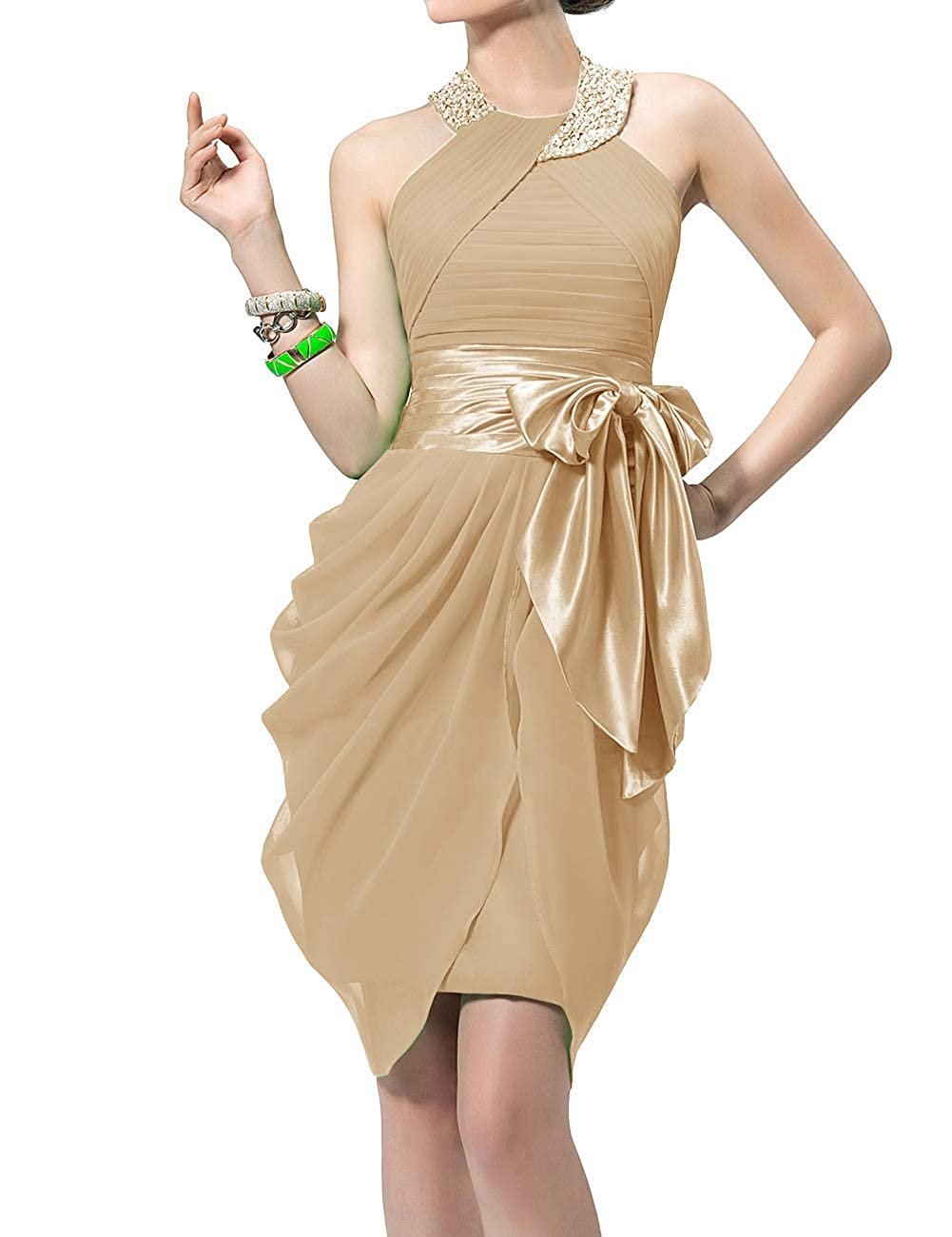 Champagne Uther Halter Cocktail Dress Short Formal Party Gowns Beaded Pleats Bridesmaid Dresses