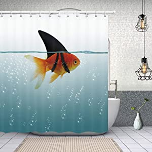 NYMB Fish Decor Goldfish Shower Curtain, Sea Animals for Ocean Lover Shower Curtain, Polyester Fabric Bathroom Fantastic Decor Nautical Tropical Fish Seawater Bath Curtains Hooks Included, 69X70in