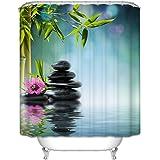 Belle vie * Conception 3D spécial rideaux de douche douche baignoire rideau rideau avec 12 anneaux Rideau oïdium anti- waterproof 180 * 200cm (Bambou)