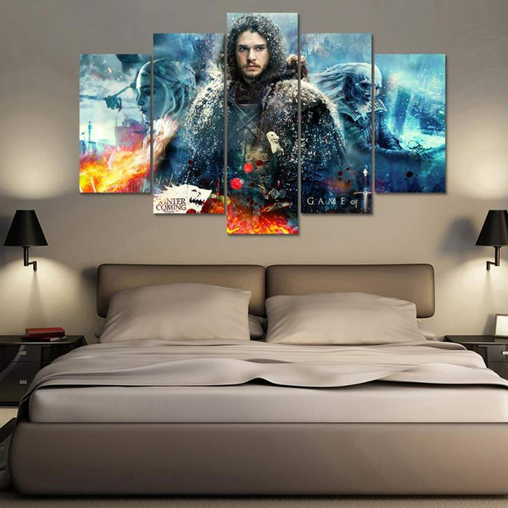 CXDM Wandkunst Poster Haus Dekoration Modern 5 Panel Game of Thrones Wohnzimmer Segeltuch HD-Druck Malerei Modular Bilder,A,30×50×2+30×70×2+30×80×1