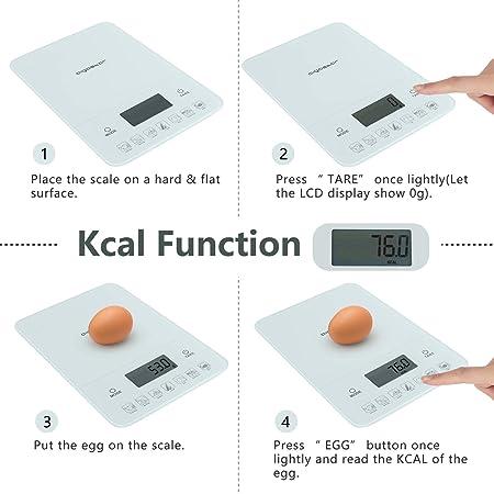 Aigostar Calorie 33LDF - Báscula de cocina digital con contador de calorías en vidrio templado. Pantalla LCD. Peso de hasta 10 kg.
