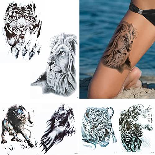 6 Sheets Temporary Ferocity Animal Tattoo Sticker Women Men Date Body Makeup Gift