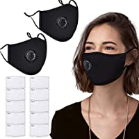 PM2.5 Dust Mask, 2 Pack Cotton Carbon Filter Face Mask, Reusable Breathing Valve Respirator Mouth Mask with 10 Activated Carbon Filters Protection from Dust, Pollen, Pet Dander