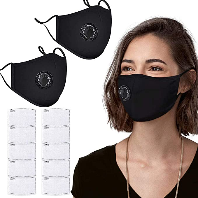 4Pcs Protection Face Covering with Breathing Valve Breathable Face Bandanas for Air Purifying Anti Smoke Dust Dustproof Foggy Haze 12Pcs Activated Carbon Air Filter