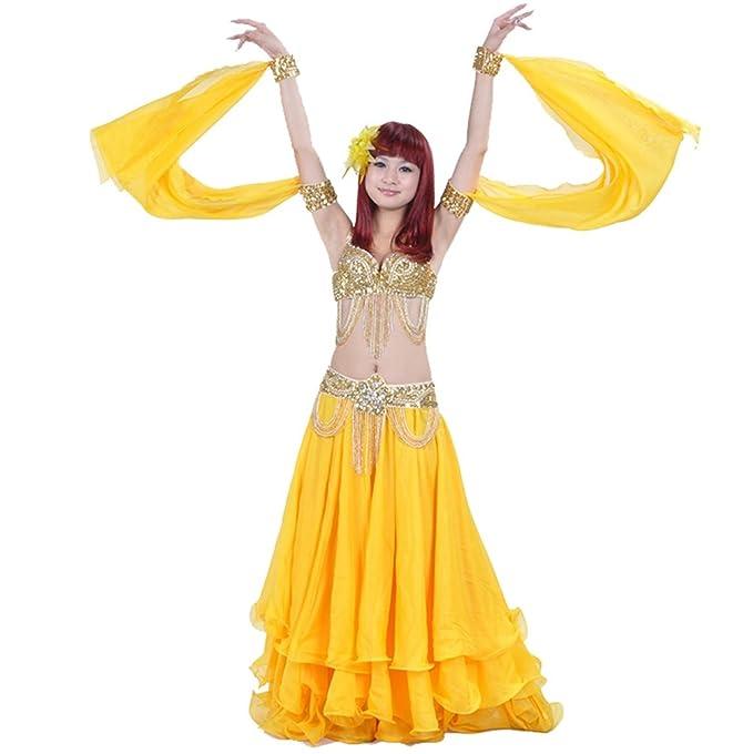 YuanDian Mujer Rendimiento De Danza Del Vientre Anillo Doble Mangas Lentejuelas Pulseras Accesorios Tribal Oriental Arabian Dance Mangas (Sin Faldas Y ...