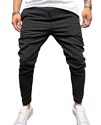 a394e698 ZAXARRA Mens Casual Slim Fit Stripe Pants Skinny Long Pencil Pants (US-30,