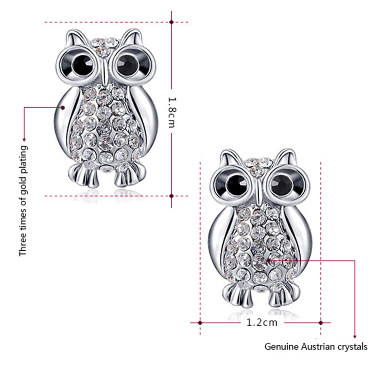 ChooKerr Cute Owl Pendant Necklace with AAAA Austrian Crystal for Women Girls