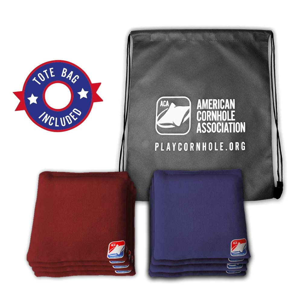 Official Cornhole Bags from The American Cornhole Association - 6'' Double-Stitched Corn-Filled Bean Bags for Corn Hole Outdoor Game - Regulation Size - Burgundy & Navy Blue