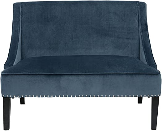 Madison Park Avalon Swoop Arm Settee Blue/Brown See Below