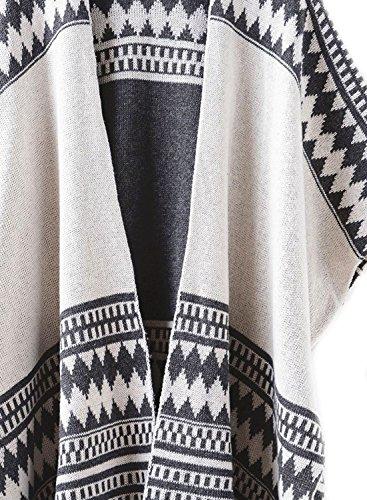 futurino manta de la mujer Open Front Cardigan de punto Poncho para mujer, con Wrap Kimo diamond grey 01