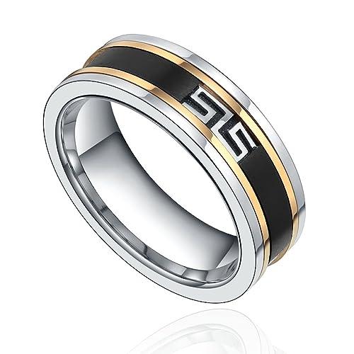 De acero inoxidable de gran Muralla IP laberinto de anillo de bodas (de color negro