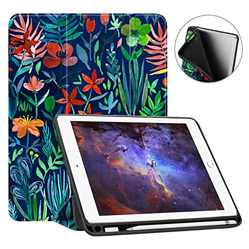 Fintie iPad 9.7 2018 Case with Built-in Apple Pencil Holder - [SlimShell] Lightweight Soft TPU Back Protective Stand Cover with Auto Wake/Sleep for Apple iPad 2018 9.7 Inch (6th Gen), Jungle Night