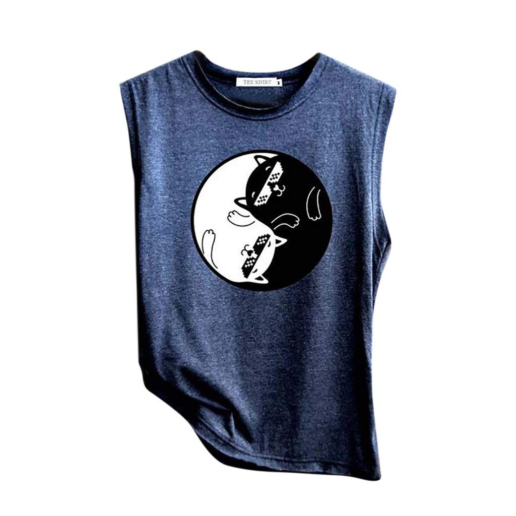 Feitengtd Women's Print Vest Casual Loose Top Soft Comfy Sleeveless Tank Top Sport Pullover Tunic Top (Navy 3, M)