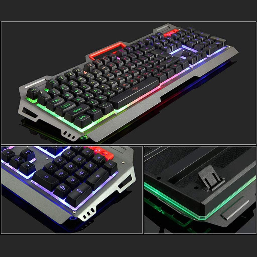 Gaming Keyboard USB Wired Keyboard Gaming Keyboard Gaming Luminous Multicolor Backlit 104 pcs Keys Color : Black