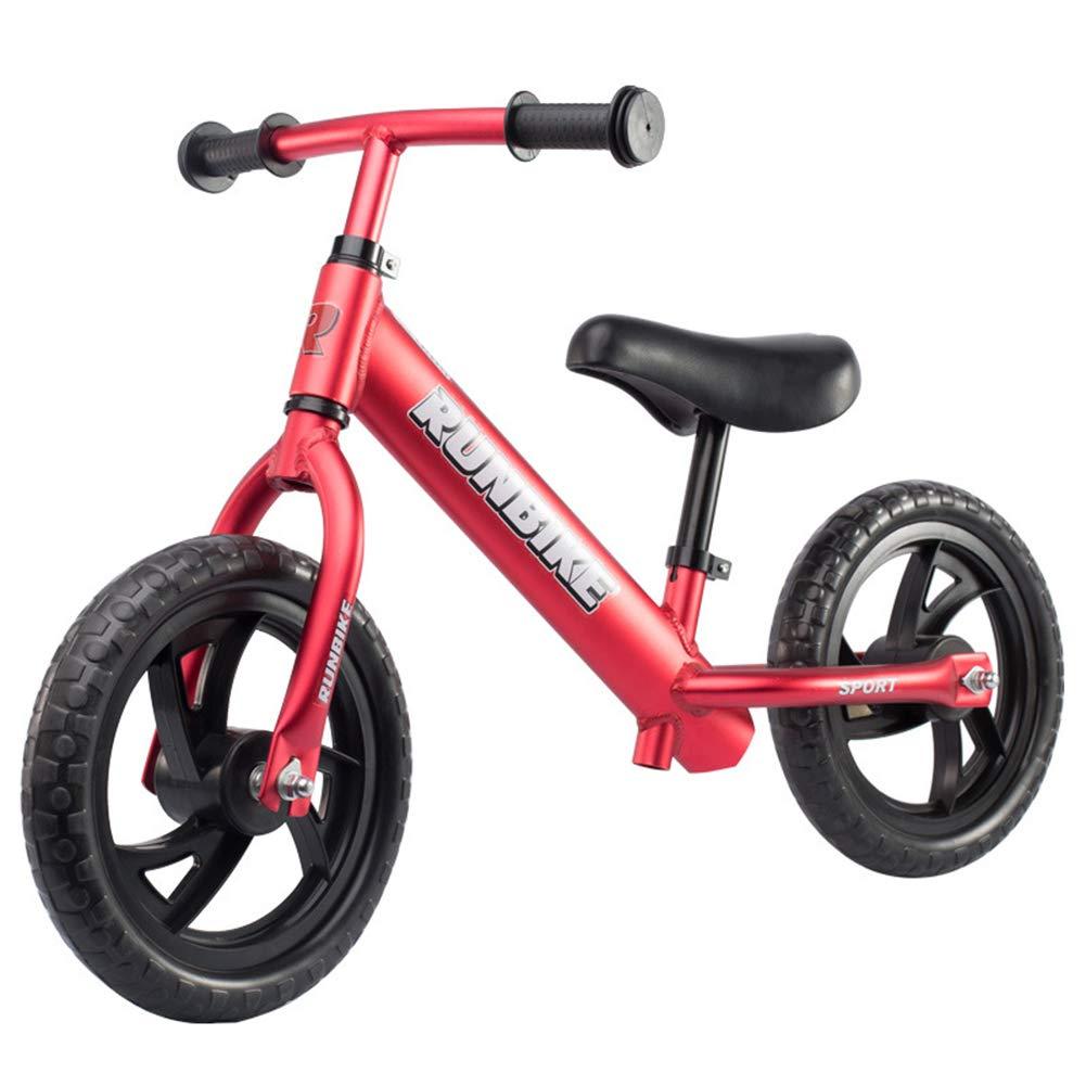 バランスバイク子供子供ランニング自転車アルミ合金ノーペダルウォーキング自転車 2~5 歳用調節可能なハンドルバーとシート  Red B07PHN9JPW