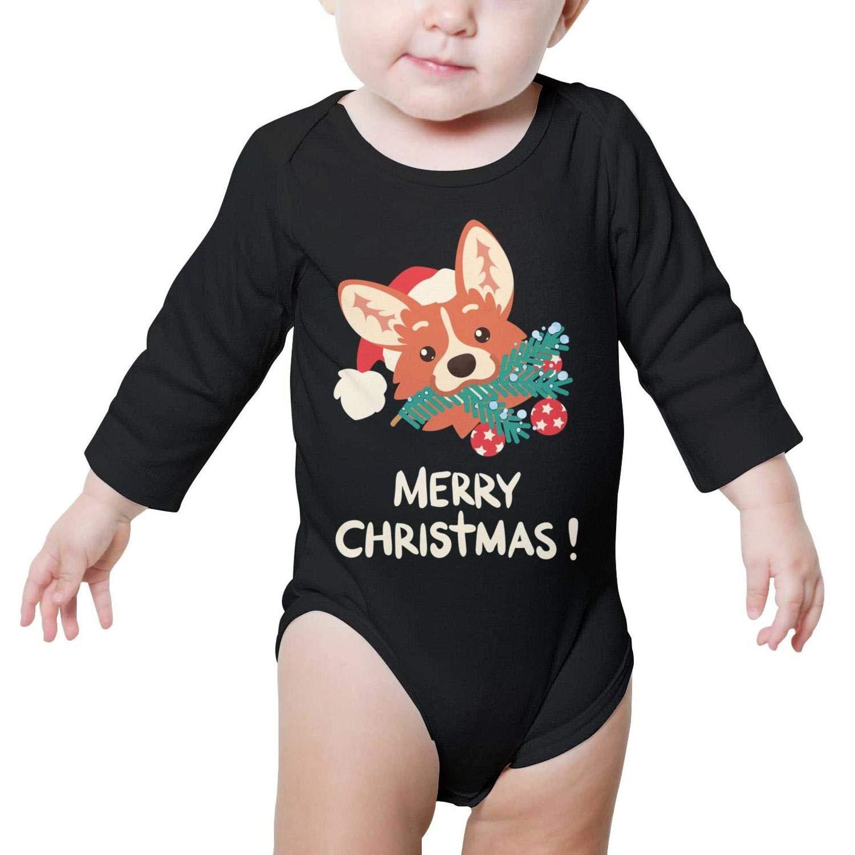 Merry Christmas Cute Corgi Dog Long Sleeve Organic Cotton Baby Onesies Outfits Cotton 100/% for Infant Boys Girls
