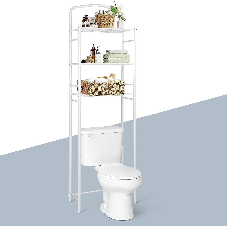 Amzdeal Estantería para inodoro, con 3 estantes, Estante de toallas y artículos de tocador, Metal y Blanco, de talla 156.5 x 28 x 49cm