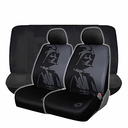 6pc Star Wars Darth Vader Black Low Back Front Rear Bench Seat Covers Set New