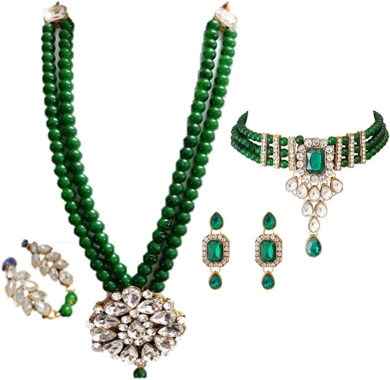 Pearl Bridal Kundan Jewellery Indian fashion Gold Tone Jewelery Necklace Set