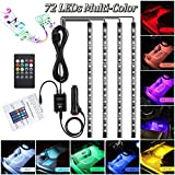 Car Led strip light,72 LED Car Interior Lights 12V Multicolor RGB Music Interior Car Atmosphere Neon Under Dash Lights with Sound Active Function Wireless Remote Control for Cars Jeep Motorcycle Neon Lights (12V-72 leds )