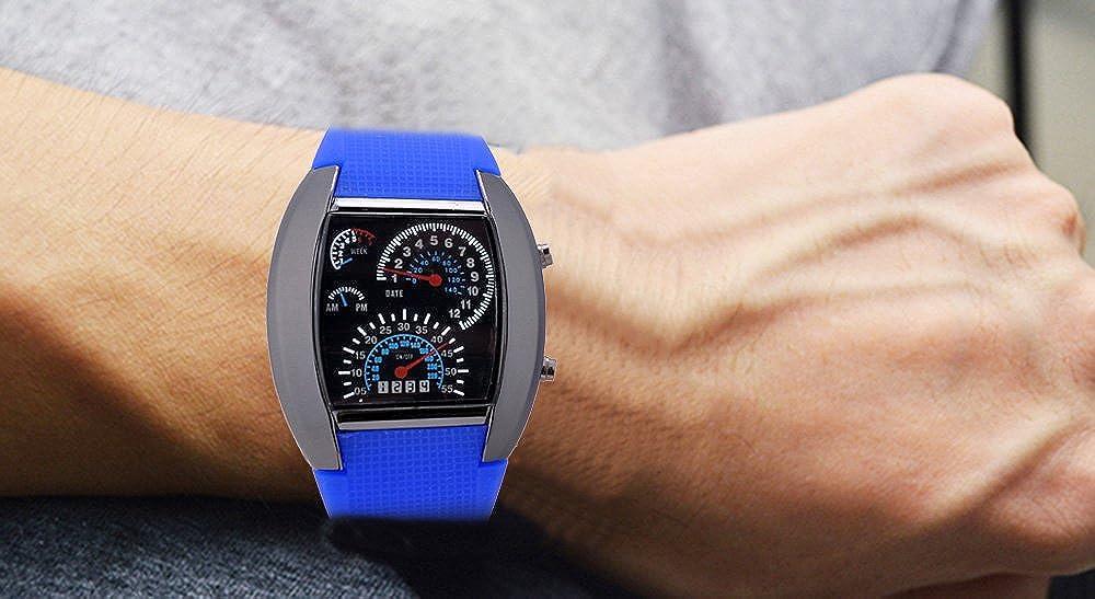 Unisex reloj de los deportes reloj de estilo LED Digital reloj de pulsera Reloj fresco único reloj de moda reloj (Dark Blue): Amazon.es: Relojes