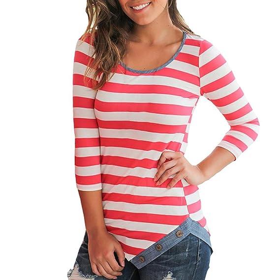 Camisetas Mujer Manga Larga Otoño AIMEE7 Camisas Rayas Mujer Camisetas Mujer Manga Larga Rayas Camisetas Manga Larga Basicas Blusas Asimetrica para Mujer: ...
