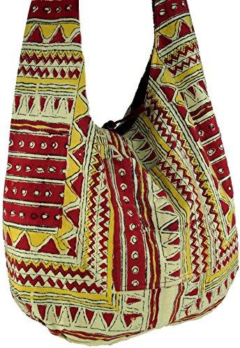 Rojo Algodón Sadhu Bolsa de Unisex Guru Shop Ethno de de Bolso Hippie Adultos Hombro Bolsa la Hippie Pattern Bolsa Bloque Hombro Impresión Sadhu Bolsa del Blanco wRHU6nRq