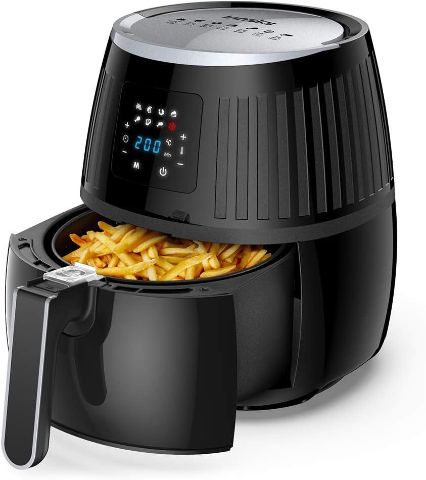friteuse /à air chaude 1700W cuisson rapide en acier inoxydable Innsky 5.5L XL Friteuse sans huile recette gratuite et garanties de 2 ans. avec une grande /écran tactile