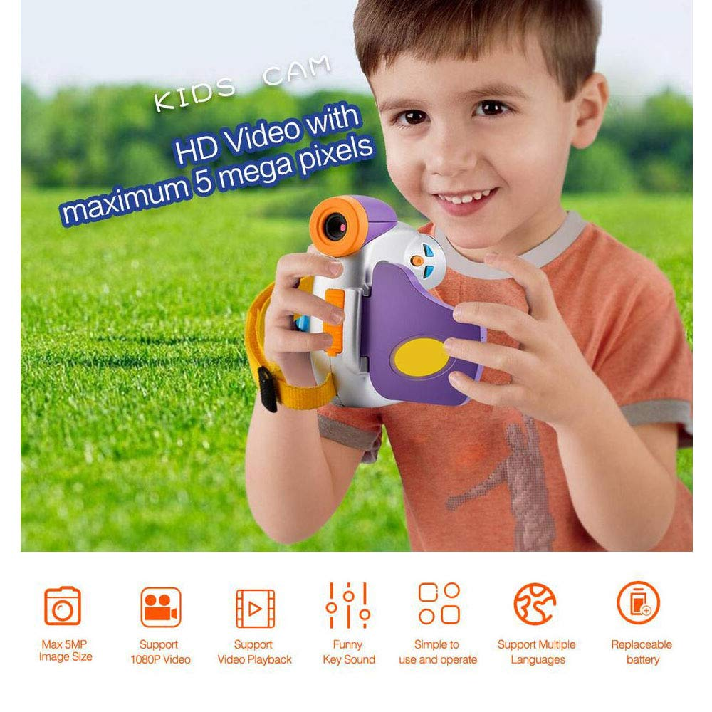 Eoncore 1080P Kids Digital Camera Video Cameras Recorder for Boys Girls with 8GB Memory Card (Purple) by Eoncore (Image #6)