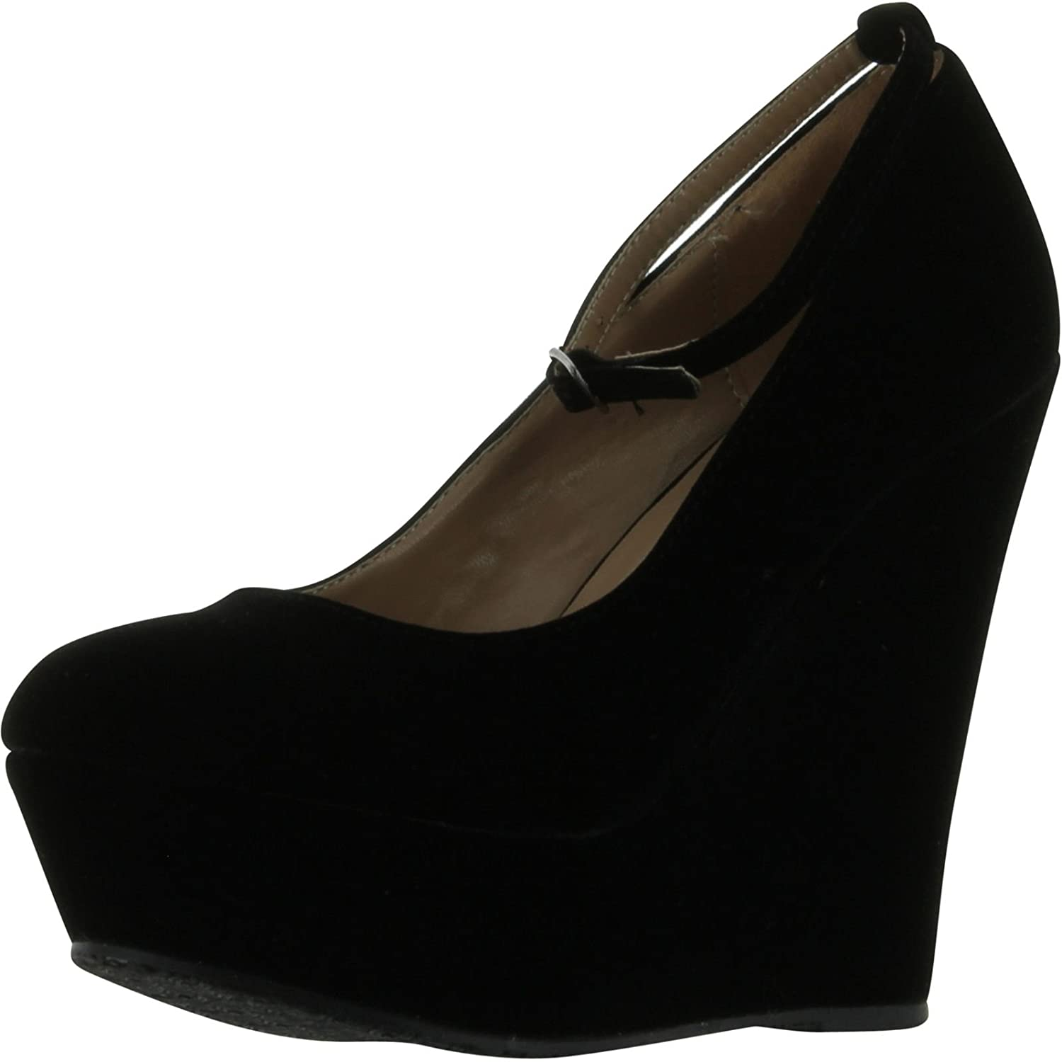 Faux Suede Round Toe Ankle Strap Cover