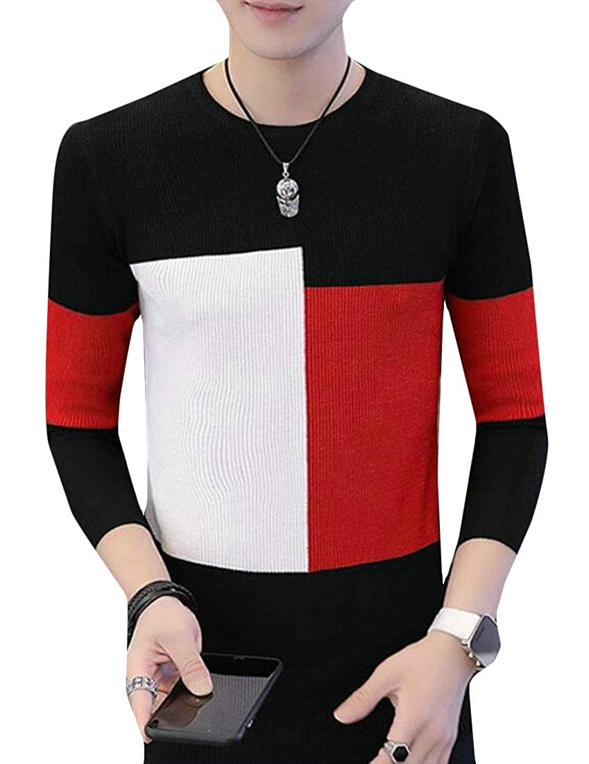 GRMO Men Pullover Color Block Round Neck Long Sleeve Knit Sweater