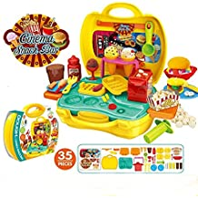 Deardeer Kids Play Dough Cinema Snack Bar Play Set 35 Pcs Pretend Play House Toy Kit with Douth and Moulds in a Portable Case