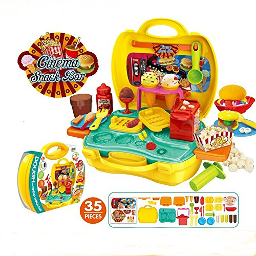 Deardeer Kids Play Dough Cinema Snack Bar Play Set 35 Pcs Pretend Play House Toy Kit with Douth and Moulds in a Portable Case by Dear Deer