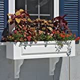 36'' Handcrafted Hampton White Vinyl Outdoor Patio and Garden Window Box Planter