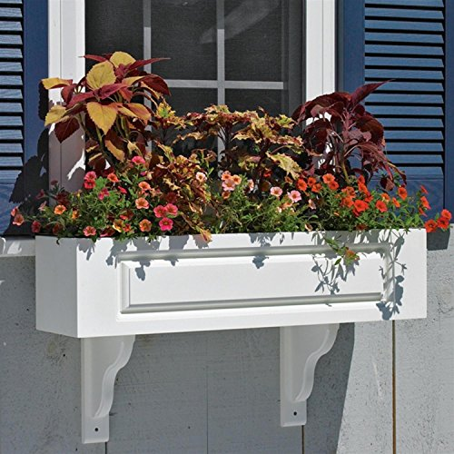 36'' Handcrafted Hampton White Vinyl Outdoor Patio and Garden Window Box Planter by CC Home Furnishings