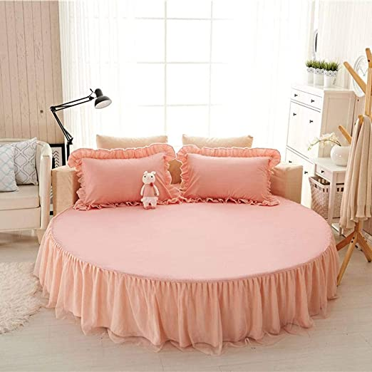 QUNCUNG Color Sólido Redonda Bedding Ruffled Bedskirt,Cubre ...