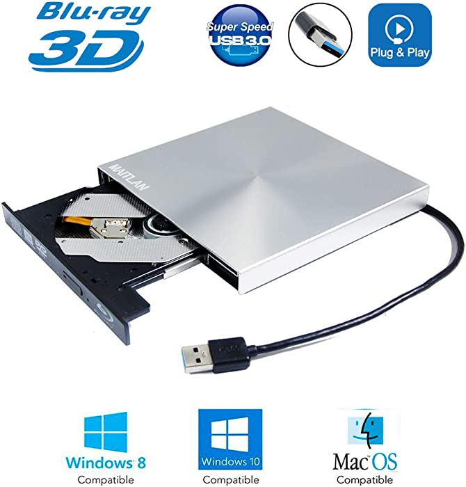 External 6X 3D Blu-ray Burner DVD Player USB 3.0 SuperDrive Drive for Apple iMac 2014 2013 2015 21.5 27 Inch All-in-One Desktop PC Retina Aluminum A1418 A1419, BD-RE DL 8X DVD+-RW CD Writer