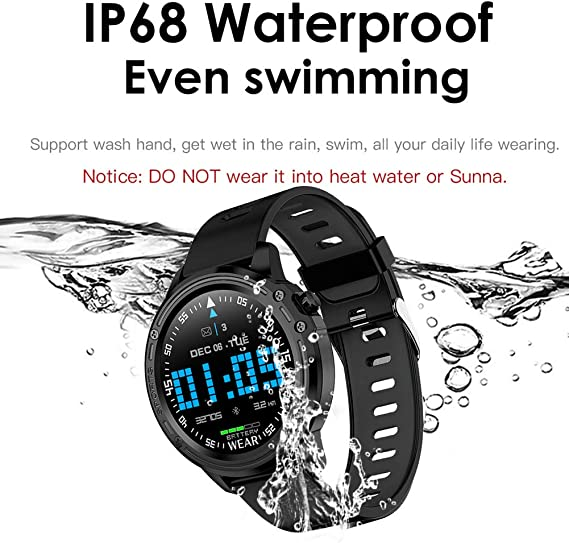 mijiaowatch L8 Smart Watch Heart Rate Monitor Color Touch Screen Activity Tracker Blood Pressure Test Ip68 Waterproof Sport Wristband with Sleep ...