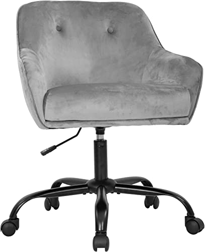 Home Office Chair Swivel Chair Desk Chair Adjustable Height Mid-Back Ergonomic Modern Upholstered Tufted Velvet Executive Accent Chair Grey