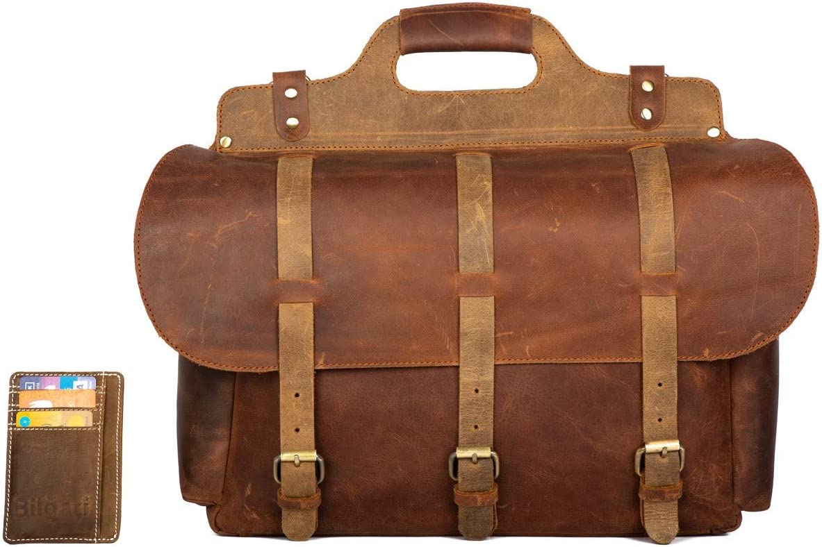 Messenger Bag Vintage Buffalo Leather 16 , Large Briefcase, Multiple Pockets Handmade Saddle for Shoulder Laptop Computer Distressed Satchel, for Men Women, School, College, Business